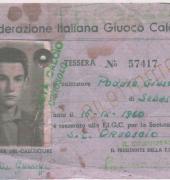 La Prima Tessera (cartellino) FIGC di Orgosolo - 1960
